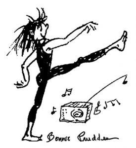 Drawing by Bonnie Prudden - dancer with radio