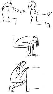 Shoulder Rotations forward, Lower Back Stretch, Deep Knee Bends