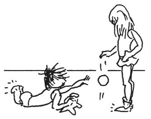 Child Playing Ball - drawing by Bonnie Prudden