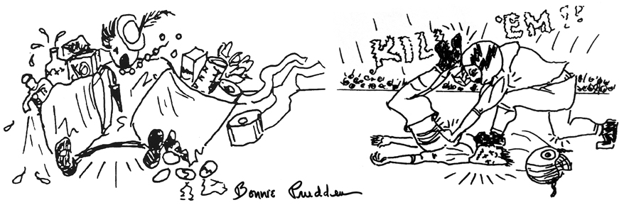Bonnie Prudden drawings of a falling accident and football tackle