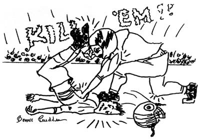 Football Jocks drawing by Bonnie Prudden