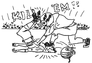 Football hit drawing by Bonnie Prudden
