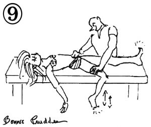 Groin Stretch - drawing by Bonnie Prudden