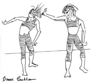Two women exercising, drawing by Bonnie Prudden