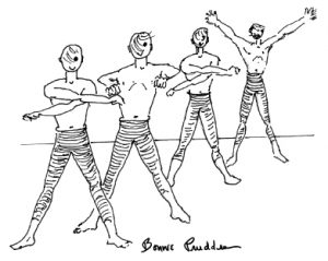 Men working out in group, drawing by Bonnie Prudden