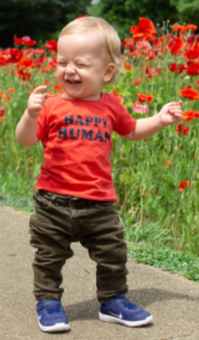 Happy human walking