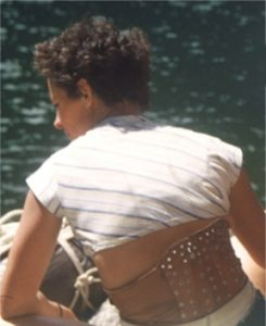 Young Bonnie Prudden wearing steel-leather back brace